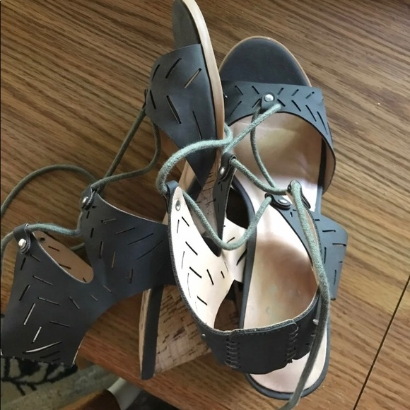 Shoes - Charcoal grey lace up wedges